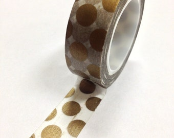 Washi Tape - 15mm - Large Gold Polka Dots on White - Deco Paper Tape No. 797