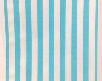 Set of 100 - Traditional Sweet Shop Aqua Candy Stripe Paper Bags - 5 x 7 New Color!