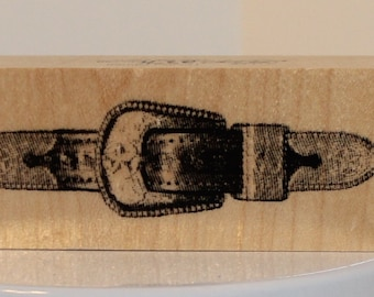 Western Belt and Buckle Rubber Stamp