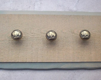 Reclaimed Wood Jewelry Hanger  ~  Leash Hanger  ~  Hat Rack with Metal Buffalo Knobs  ~   Reclaimed Wood