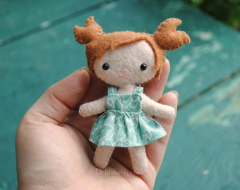 Mini 4 Inch Felt Doll * Hand Stitched Pocket Doll * Cute Kawaii Style Doll With Cloth Dress And Pigtails * Made To Order*