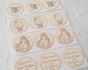 Baking with Mom Cupcake Stickers Set of 12 Cooking Baking Cupcake Bakery Dessert Label