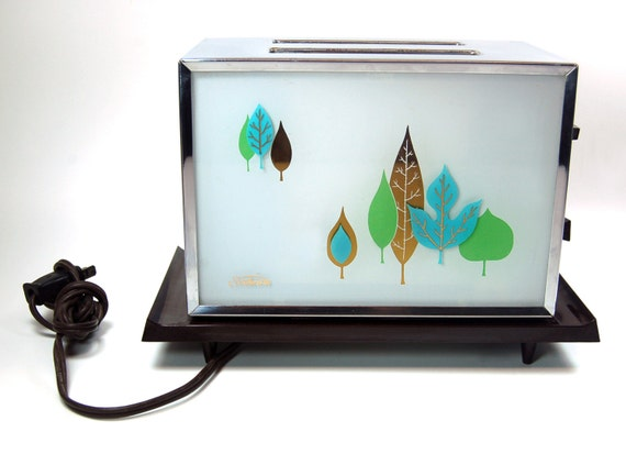 Vintage Chrome Sunbeam Toaster Turquoise Gold Leaves By