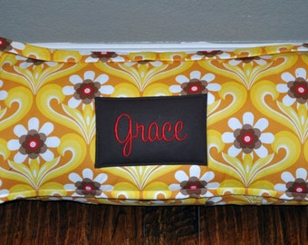 Nap Mat - Monogrammed Boho Free Spirit Clementine Nap Mat with Brown Double-sided Minky or Minky Dot Blanket