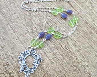 Botanical Necklace Purple Green. Flower Pendant Peridot Leaves Mauve. Jewellery Jewelry Handmade Floral For Her. Gift Two Cheeky Monkeys