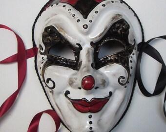 Tears of a Clown Joker Mask, full faced joker style paper mache masquerade mask