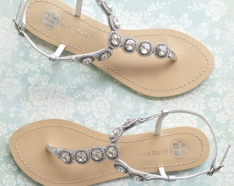 Wedding Sandals Something Blue Sole for Beach Destination Wedding with Halo Setting Crystal Strappy Silver Bridal Thong Bella Belle Helia