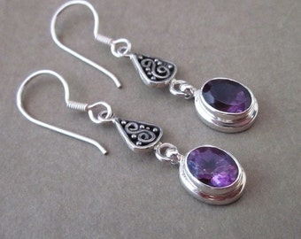 Light Sterling Silver Amethyst Dangle Earrings / silver 925 / Bali handmade jewelry / 1.6 inch long