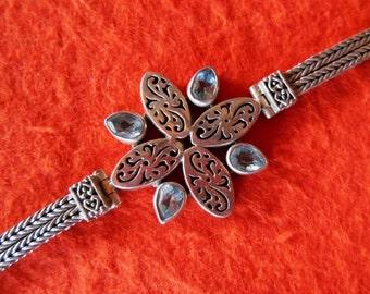 Balinese sterling Silver blue topaz bracelet / silver 925 / genuine gem / Bali jewelry / 7 inches long / (#182m)