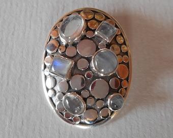 Sterling Silver six moonstone gemstones Pendant / silver 925 / Balinese handmade jewelry