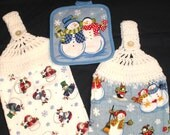 Set of 2 Crocheted Kitchen Towels.  Choice of Poinsettias or Snow People.  Ready to Ship.
