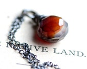 Amber Brown Necklace Chalcedony Wire Wrapped in Sterling Silver - Clove - Southwest Boho Rustic Summer Fashion