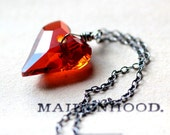 Heart Necklace - Large Red Swarovski Crystal Heart on Sterling Silver Chain Heart Jewelry Gift For Her Under 50