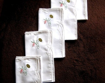 NAPKINS Replacement UNUSED Napkin Set 5 White Embroidered Pink Flowers New N W T