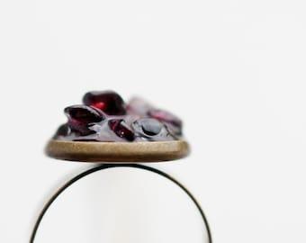 Raw Garnet Ring Adjustable Cocktail Ring January Birthstone OOAK boho jewelry dark burgundy oxblood rustic organic design
