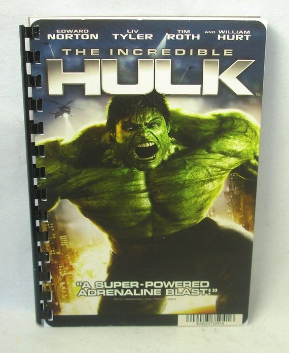 DVD VHS Movie Cover Notebook The Incredible Hulk W/ By
