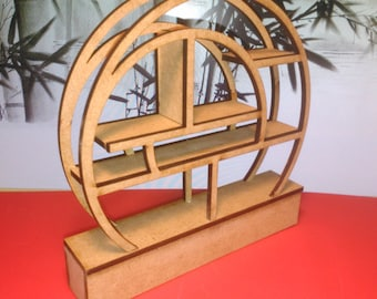 Modern oriental funiture, natural wood spiral bookcase, 1/12 miniature for dollhouses