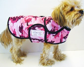 Pink Camo Minky Dog Coat  20 dollars to 50 dollars depending on the size by Doodlebug Duds