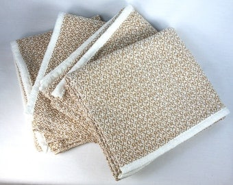 Handwoven Gothic Cross Tea Towel in Tan and White Cotton