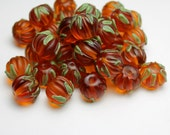 Reserved for Sue.. Lampwork Glass Beads, Pumpkins Earring Pair SRA