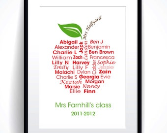 Teachers thank you gift personalised name typography word art class apple PRINTABLE