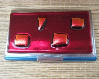 Business Card Case Holder Dichroic Glass