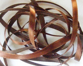 Vintage 1940's French Satin Ribbon 1/4 inch -Milliners Stock- Gorgeous Chestnut Brown