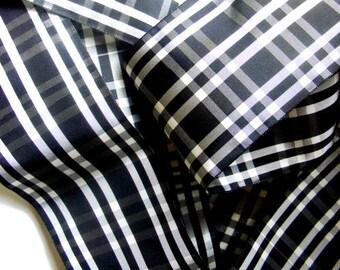 Vintage French Rayon Check Plaid Ribbon 3 1/8 Inch Gorgeous Black and White