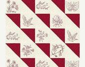 HUGE SALE Redwork Embroidery Quilt Panel, Redworks