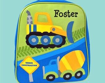 Personalized Child's Stephen Joseph GoGo Backpack CONSTRUCTION Themed Bag