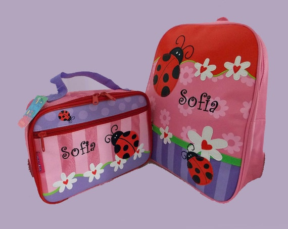 Child's Personalized Stephen Joseph GoGo LADYBUG Themed Backpack and Lunchbox School Set-Monogramming Included In Price