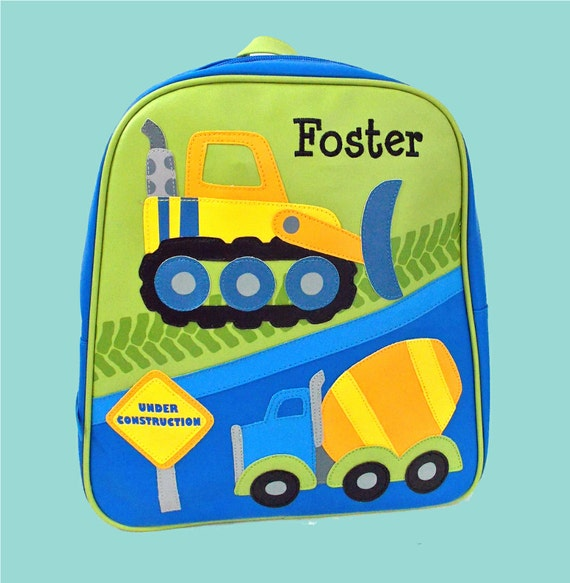 Personalized Child's Stephen Joseph GoGo Backpack CONSTRUCTION Themed Bag