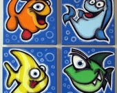 4FiSHEs - set of 4 12x12 original paintings on canvas, fish paintings, fish room decor, fish wall art