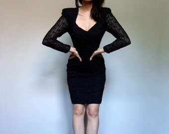 80s Black Bodycon Dress Fitted V Neck Lace Dress Long Sleeve Party Dress - Small S