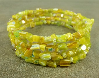Flower Power Yellow Millefiori Glass Chip Coil Memory Wire Bracelet