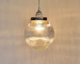 Moon GLOW - Hanging Pendant Lighting Fixture - Upcycled Hanging Lamp - Holophane Ribbed Textured Glass Globe - BootsNGus Lamps
