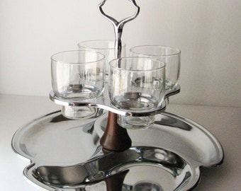 Vintage Serving Tray with Glasses, Condiment Caddy
