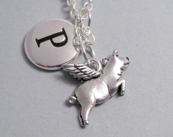 When Pigs Fly  Flying Pig Charm  Silver Plated Charm    Supplies