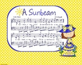 A SUNBEAM - 8x10 Printable Instant Art DIY Jpg Digital Download Children Hymn Cute Cartoon Girl Blue Yellow White Polka Dot Sheet Music Song