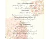 THANKS MOM --- 11X14 Calligraphy Poem Art Print Collage Original Textured Background White Pink Grey Shabby Flowers Hydrangea