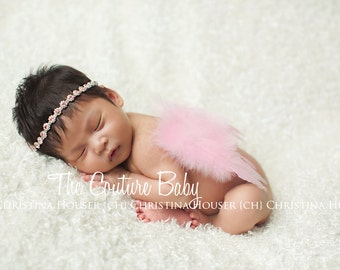 Dusty Rose Feather Princess Butterfly Fairy Wings & Halo Headband