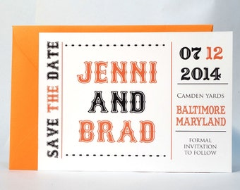 Baseball Save The Date - Orange and Black
