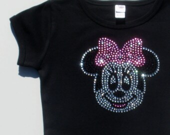 2T 3T 4T 5T 6/6X pink Minnie Mouse Face rhinestone Short Or Long Sleeve T-Shirt for Disney costume