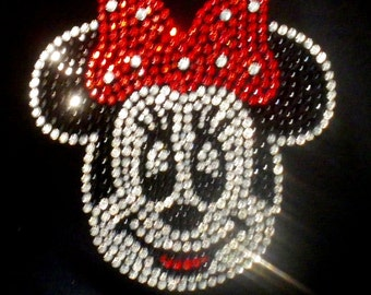 """6"""" Red Minnie Mouse FACE iron on rhinestone transfer for Disney costume tshirt WHOLESALE available"""