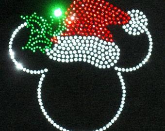 "7"" Santa hat Mickey Minnie Mouse iron on rhinestone Christmas TRANSFER"