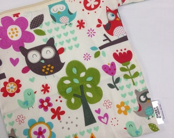 12x12 Sweet Bobbins Wet Bag - SEAM SEALED - Snap Strap - Boutique Quality - Tree Owls