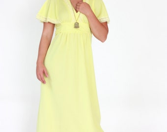 Vintage 1970s Dress / 70s Yellow Maxi Dress / Medium / Festival Dress