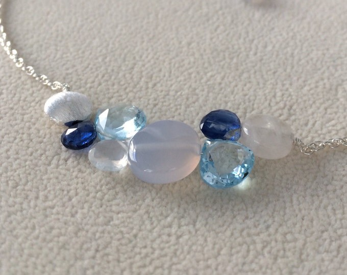 Blue Semiprecious Gemstone Bar Necklace in Sterling Silver with Ice Blue Chalcedony, Sky Blue Topaz, Rainbow Moonstone and Kyanite