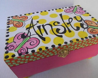 Hand Painted Jewelry Boxes-Personalized Wooden Boxes-Jewelry Storage-Butterfly Box