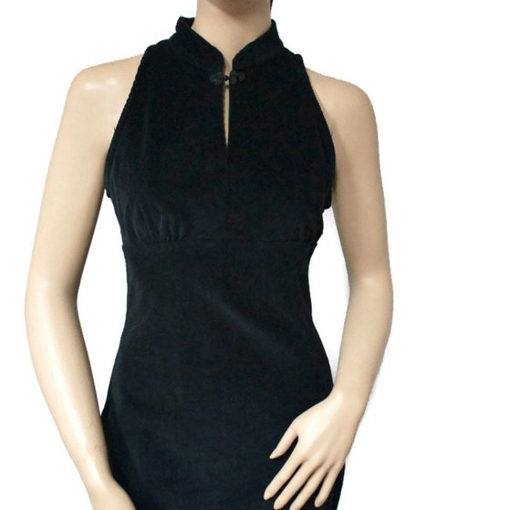 Little Black Dress / Party Dress / Oriental Collar / Corduroy / Mod / Size Small